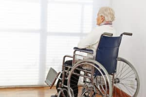 Neglected senior citizen lonely at nursing home