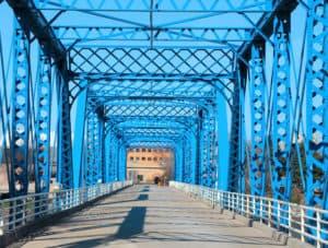 Blue Walking Bridge in Grand Rapids, MI