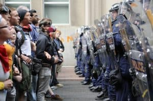 Police face a standoff against angry public