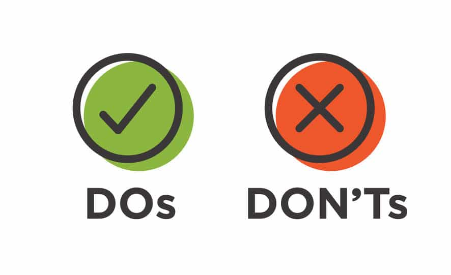 Picture of Do's and Dont's in green and red.