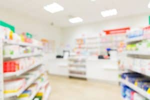 Blurred image of dangerous drugs in a Michigan pharmacy