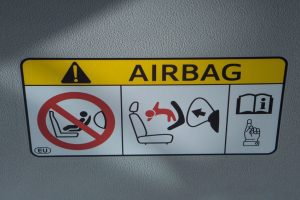Warning Label on Airbag in Michigan Car