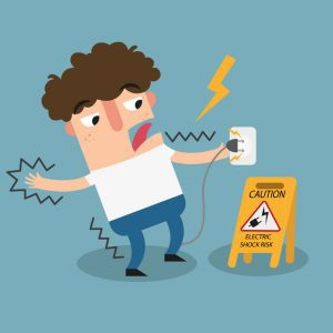 Cartoon of personal receiving electrical shock