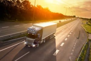 Moving Truck Traveling Down Highway Near Lansing, Michigan