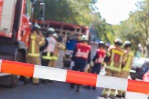 Accident scene located in Lansing, MI