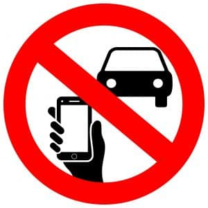 No texting and phone use while driving vector sign
