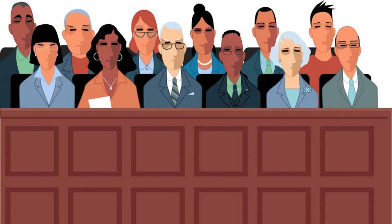 12 Jurors sitting in the box