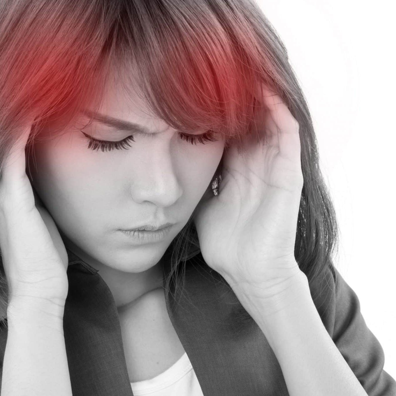 woman suffers from headache, stress, overwork, migraine on white isolated background